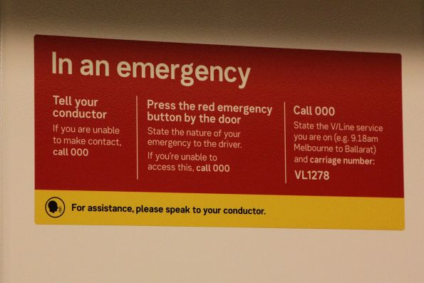'In an emergency' signage onboard V/Line VLocity VL1278