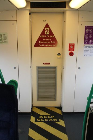 Additional 'KEEP CLEAR' signage on the cab door of VLocity VL25