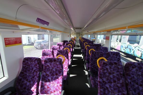 PTV liveried seat fabric onboard VLocity VL26