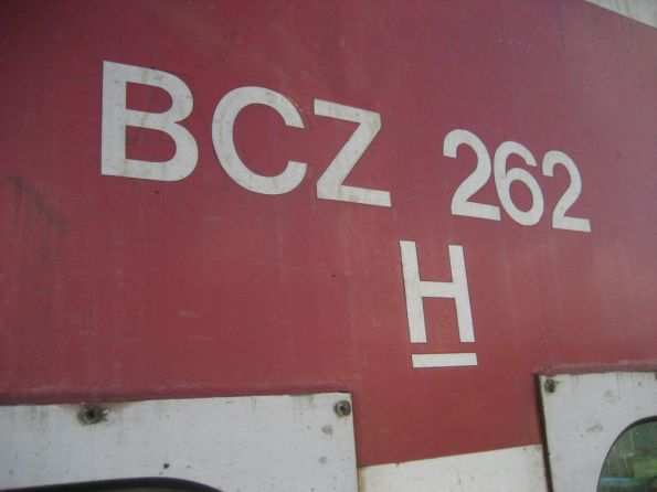 BCZ262 lettering on the carriage side: removed 'ACZ' code just visible beneath