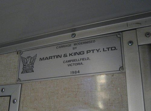 Martin & King builder plate in a H car