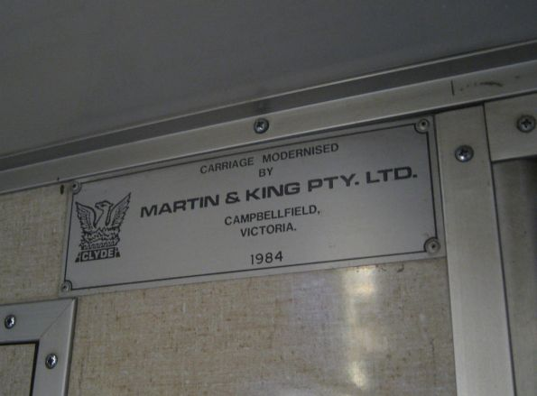 Martin & King builder plate in a H car