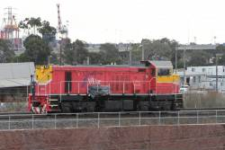 P12 crosses the North Melbourne flyover after a surveying run to Swan Hill and Echuca