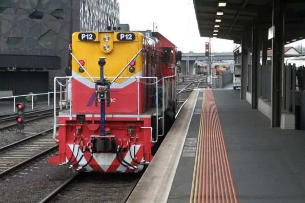 P12 shunts out of Southern Cross following the surveying run