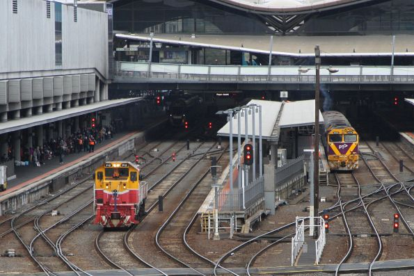 P12 departs Southern Cross on an inspection run to Lara via Werribee