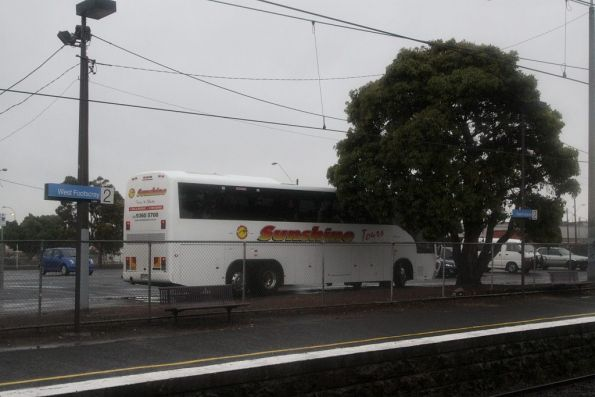 First of the coaches arrives to transfer the stranded passengers