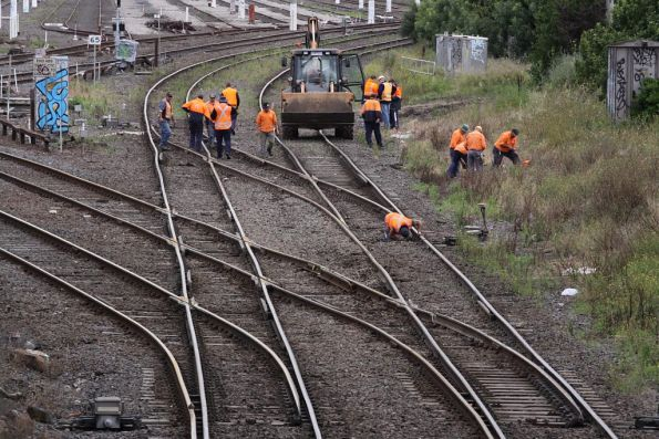 With the train cleared, repair work can start at West Footscray