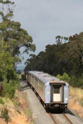 Carriage set VN12 trails N458 out of Traralgon
