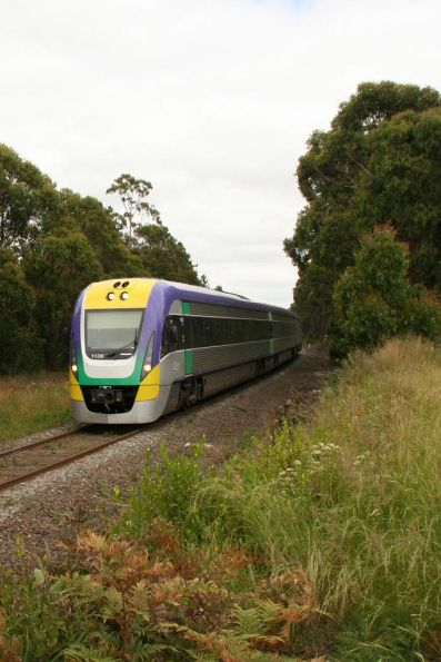 Three car VL36 on the down between Drouin and Warragul