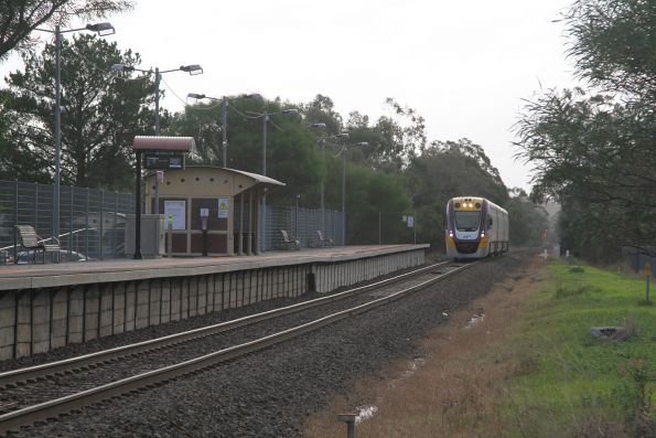 VLocity VL03 arrives into Longwarry station on a down Traralgon service