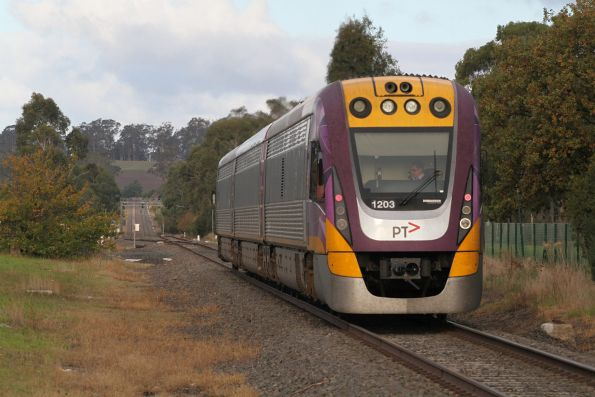 VLocity VL03 departs Longwarry on a down Traralgon service