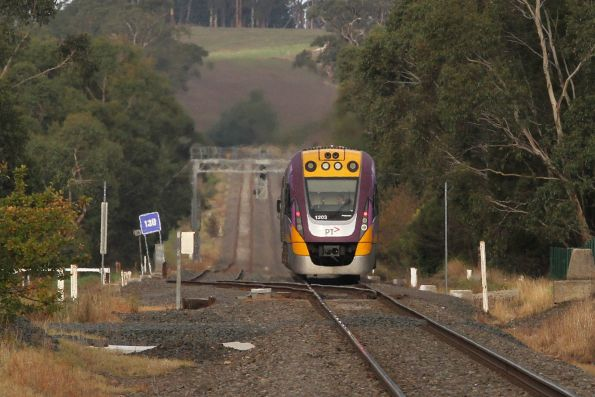 VLocity VL03 heads back onto the double track at Longwarry on a down Traralgon service