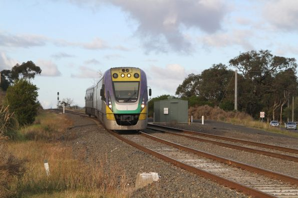 VLocity VL27 leads an up Traralgon service onto the double track at Bunyip