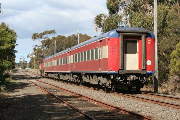 N458 leads the down Warrnambool service out of South Geelong