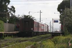 N460 pauses with an up Geelong service at North Geelong station