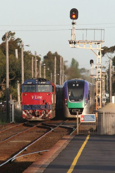 VL03 heads to Marshall, while N467 waits in siding 'B' at South Geelong