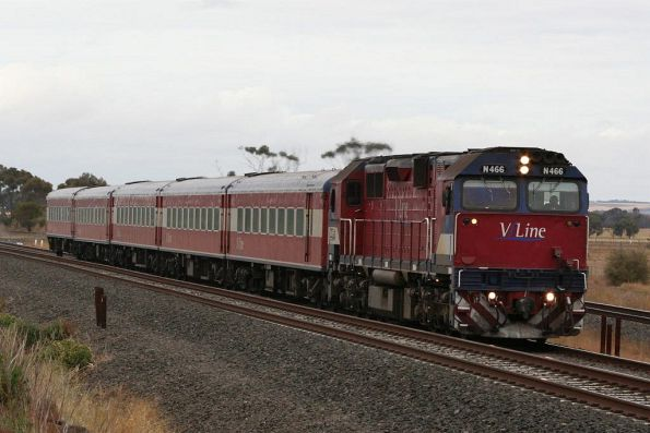 N466 on an up Warnambool service outside Little River