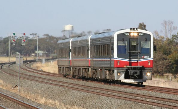 7001, 70xx, 7007 on a down Geelong service depart Little River