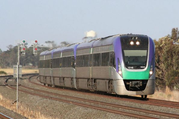 VLocity VL16 and two classmates on a down Geelong service depart Little River