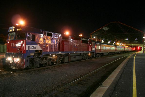 N473 on an up Warrnambool Cup special with club car 'Victoria' and power van PCO2 in the consist, at Geelong