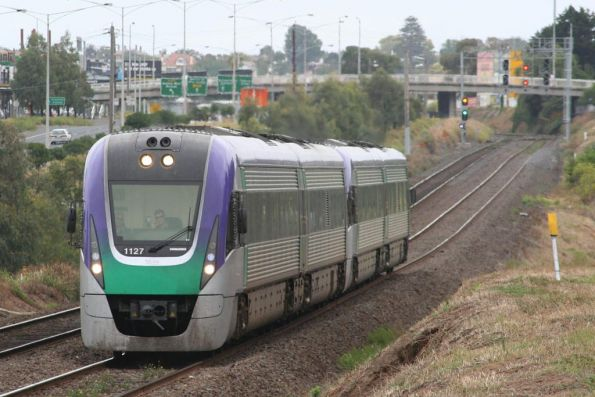 VL27 leads an up Geelong service at North Geelong
