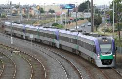 VL05 leads a down train arriving at Geelong