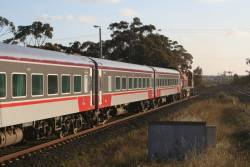 Refurbished N set departs Lara on the down