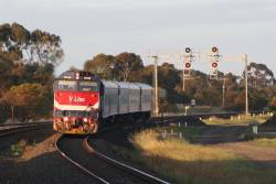 N455 leads a down Geelong service into Lara