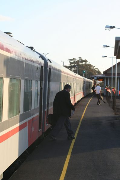 Evening commuters leave a down Geelong service at Lara station