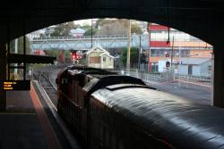 Down South Geelong service waits for an up service to clear the Geelong Tunnel