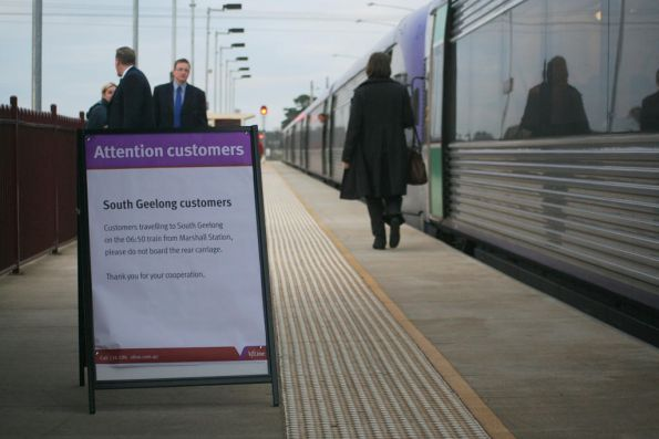 Signage at Marshall for the 7 car VLocity train, due to the South Geelong platform extensions not being finished