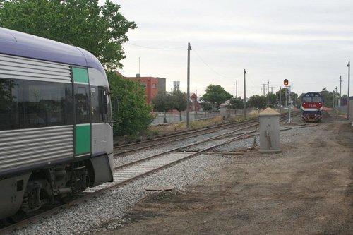 7 car train hanging off the platform at South Geelong