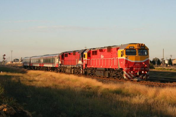 N461 leads N456 and a 3 car refurbished N set out of North Shore bound for Melbourne