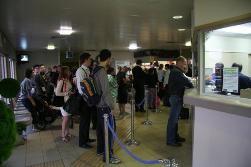 Monday morning at South Geelong, and a ticket line so long it spirals around the entire waiting room