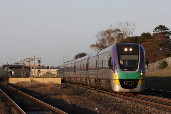 VL04 leads a 7 car consist on an up express at Corio