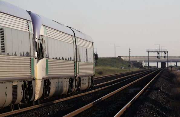 VLocity running the express closes in on the all-stopper outside Corio