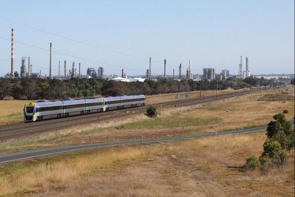 3VL37 trails a down service at Corio, as an up train approaches