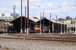 Empty cars stabled at Geelong station platform 3 between peaks