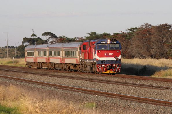 N455 leads a down train outside Corio