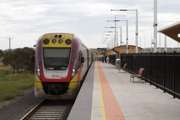 VLocity 3VL44 and classmate awaiting departure time from Waurn Ponds station