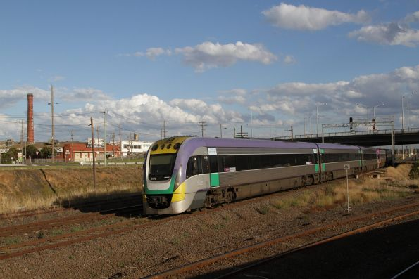 VLocity 3VL28 and classmate depart Geelong at North Geelong