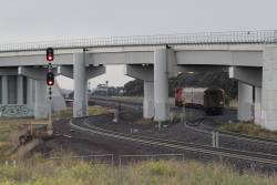 N457 leads the up Warrnambool service around the RRL flyover at Manor Junction