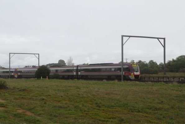 VLocity on an up Geelong service passes the remains of Werribee Racecourse station