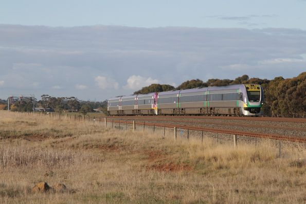 VLocity 3VL39 and classmate on a down Geelong service approach Manor Junction