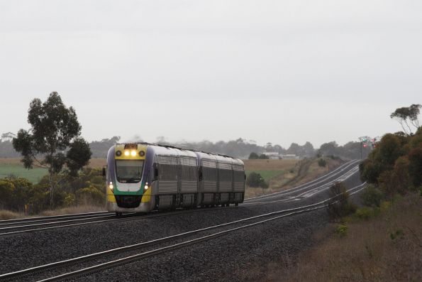 VLocity VL09 and classmate lead an up Geelong service out of Little River