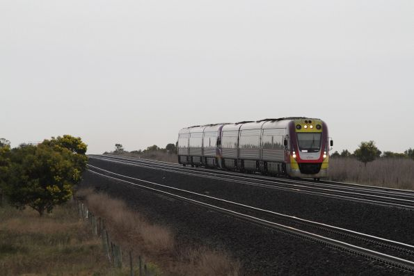 VLocity 3VL43 and classmate lead a down Geelong service towards Little River
