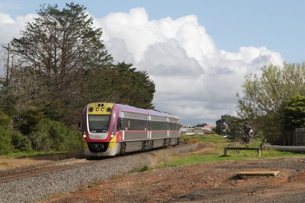 VLocity 3VL43 on an up Waurn Ponds service passes the former Grovedale station site