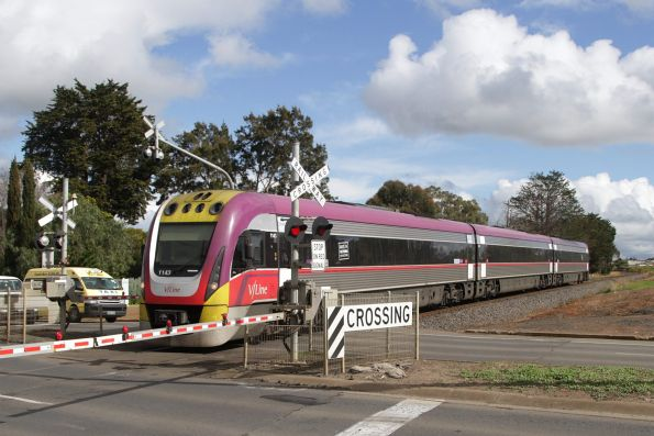 VLocity 3VL43 on an up Waurn Ponds service crosses Torquay Road in Grovedale