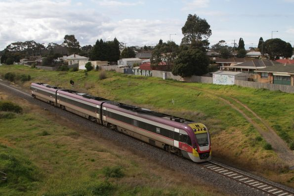 VLocity 3VL46 on a down Waurn Ponds service about to pass beneath the new Breakwater Bridge