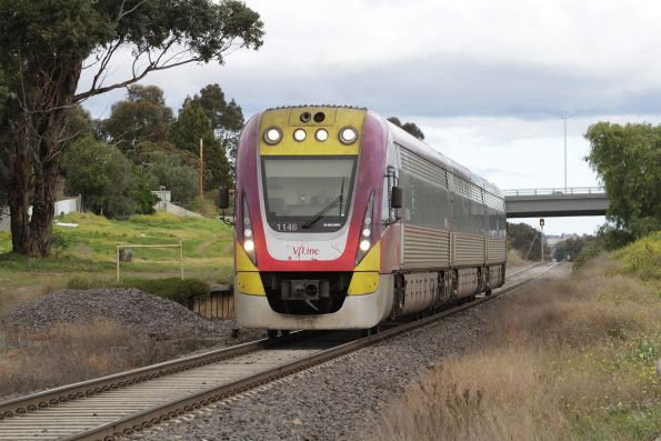 VLocity 3VL46 passes the former Geelong Racecourse platform with an up Waurn Ponds service